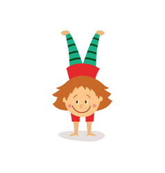 flat girl doing handstand exercise isolated vector image vector image