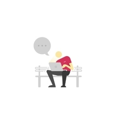 Man sitting on a bench with laptop and chatting vector image