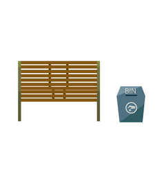 park bench with a blue bin and sign vector image vector image