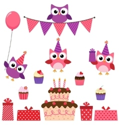Party owls pink set vector image