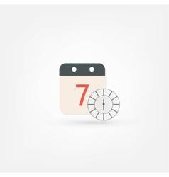 Clock and calendar icon vector