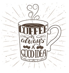 Hand drawn cup of coffee with text and decorative vector image