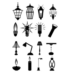 light bulb lamps icons set vector image