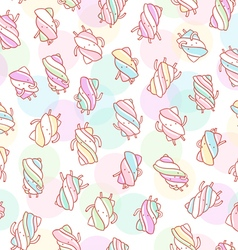 Marshmallow characters pattern on abstract vector image