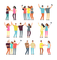 neighbors men and women characters friends groups vector image