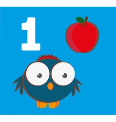 Number 1 - Sparrow with one red apple vector image