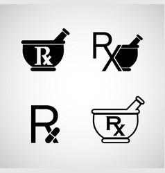 pharmacy logo icon set vector image