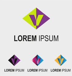Rhombus logo with letter V symbol sign vector image vector image