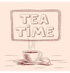 Sketch of cup of tea vector