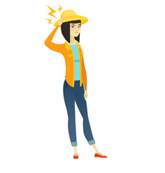 asian farmer with lightning over her head vector image