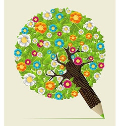 Flower leaves concept pencil tree vector image vector image