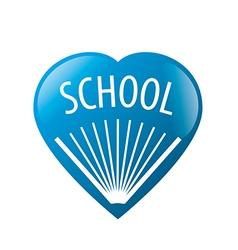 Logo book in blue heart vector