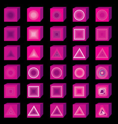 Pink 3d multi media icons music and sound button vector