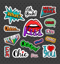quirky quotes stickers set vector image vector image