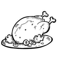roasted chicken vector image