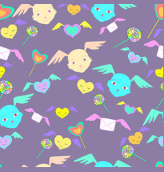fantastic monsters cute faces with wings rainbow vector image vector image