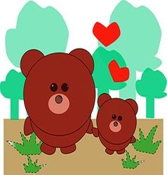 Little bear and baby vector