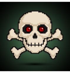 Pixel skull and crossbones vector