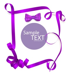 Shiny purple ribbon on white background with copy vector image