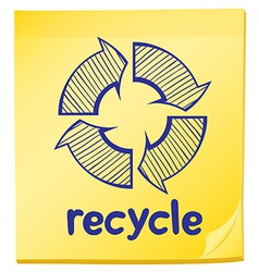 A notepad with a recycle label vector