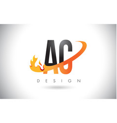 Ac a c letter logo with fire flames design vector