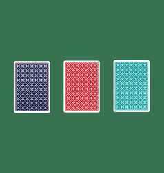back of card in three different colors on green vector image