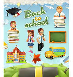 Back to school Education icon set Funny cartoon vector