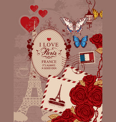 banner with eiffel tower roses and butterfly vector image