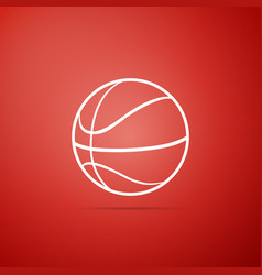 basketball ball icon isolated on red background vector image