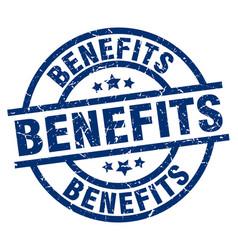 benefits blue round grunge stamp vector image