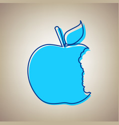 Bited apple sign sky blue icon with vector