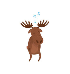 Cartoon character of sleepwalker moose wild vector
