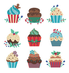 cartoon christmas pastry cupcakes decorated vector image