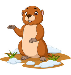 cartoon funny groundhog waving hand vector image