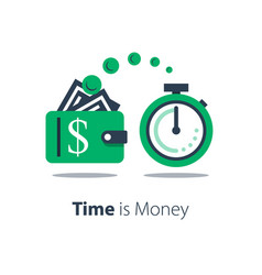 Cash back wallet with dollar sign and stopwatch vector