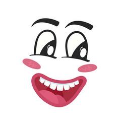 cheerful emoji emoticon or smiley face vector image vector image