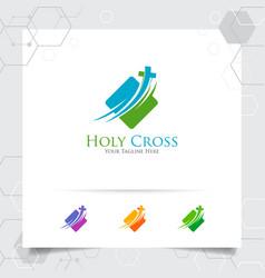 Christian cross logo design with concept of vector