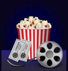 cinema popcorn box concept background realistic vector image