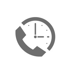 Clock with phone support time 24 hours service vector
