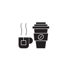 coffee mug tea cup black concept icon vector image