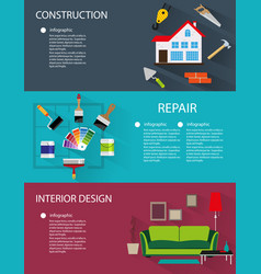 construction and interior design banners vector image