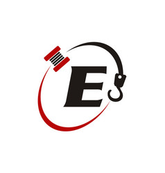 crane hook towing letter e vector image