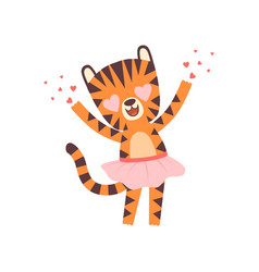 Cute little tiger girl wearing pink skirt vector