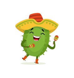 Cute mexican cactus funny plant character in vector