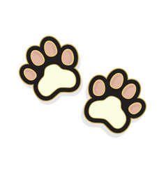 Cute pinky pair cat paws foot print sticker icon vector
