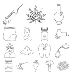 Drug addiction and attributes outline icons in set vector