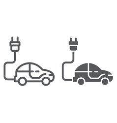 electric car line and glyph icon ecology car vector image