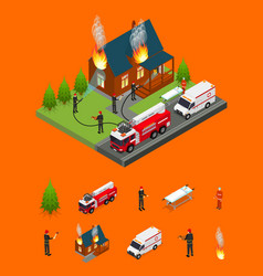 firefighters extinguish fire at house and elements vector image