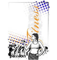 fitness woman color poster background vector image
