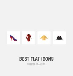 flat icon dress set of clothes panama heeled vector image